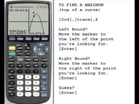 Finding a Maximum or Minimum on TI-83/84