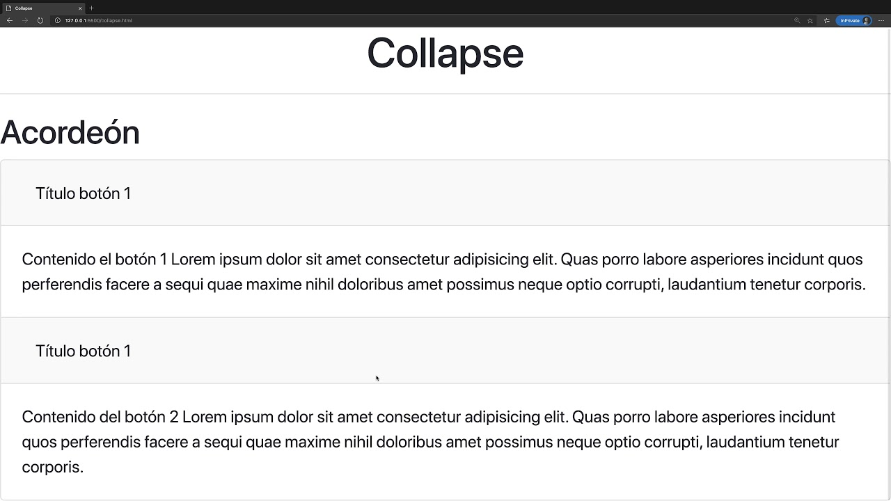 Curso Bootstrap v4.5 - Componentes. collapse accordion #2 - YouTube