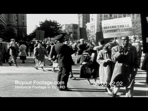 HD Stock Footage Cold War - Communist Party USA, Smith Act Trial, NYC, Protests, Cardinal Mindszenty