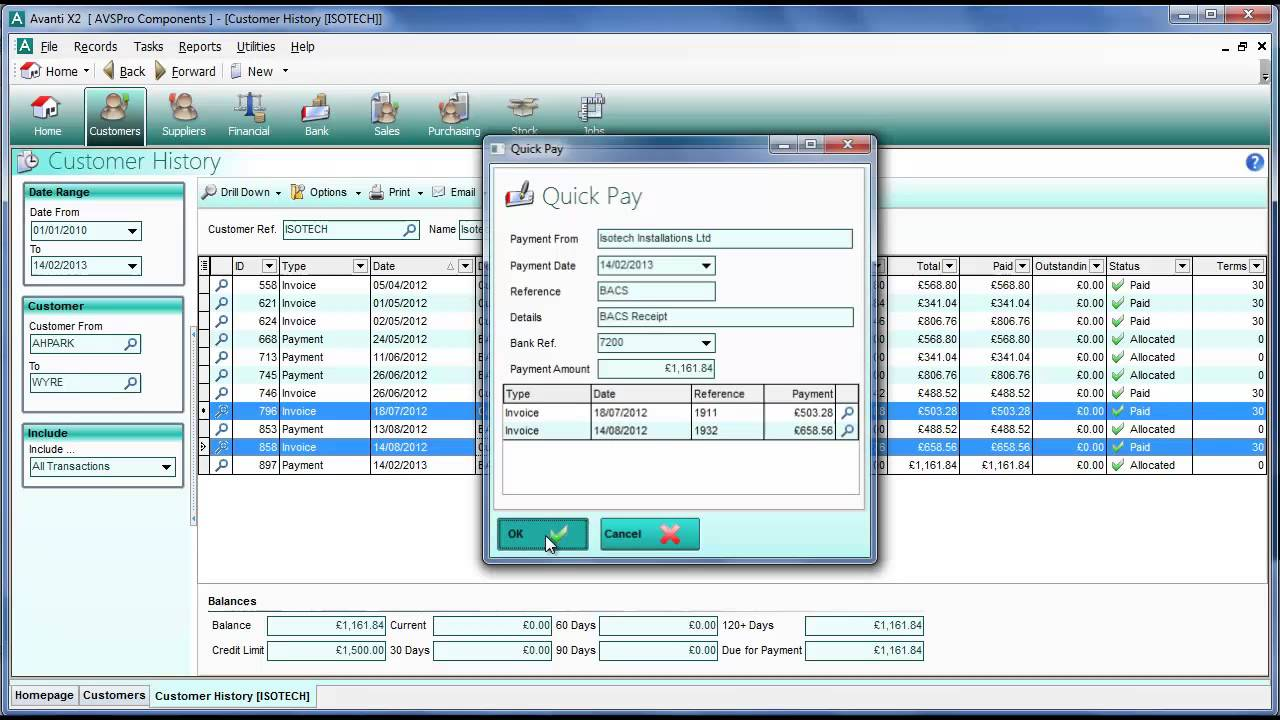 avanti quick pay quick allocate small business accounting software