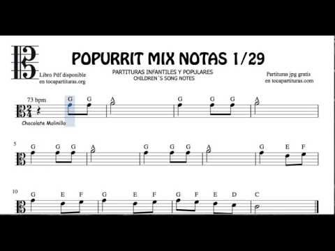 1 of 29 Popurrit Mix Notes Sheet Music for Viola C Clef Children's Songs