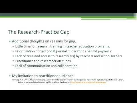 Division 15 Webinar - Dr. Alysia Roehrig Webinar on Bridging the Research-Practice Gap