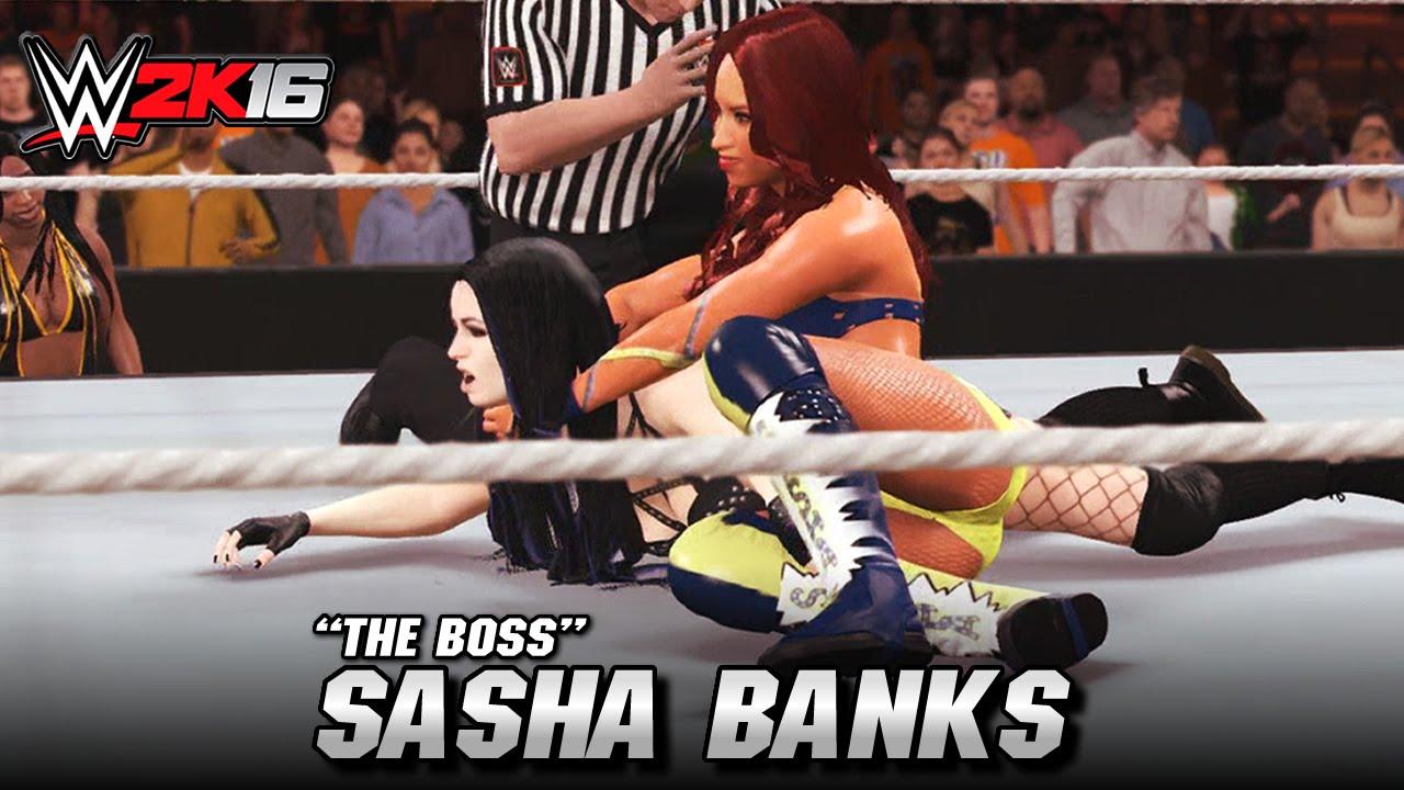 WWE 2K16 : Sasha Banks Entrance, Signature & Finisher (Creations) - YouTube