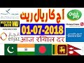 Saudi mein Aaj Ka Riyal Rate - 01 July 2018 in Hindi/Urdu | INDIA,Pakistan,Bangladesh,Nepal |