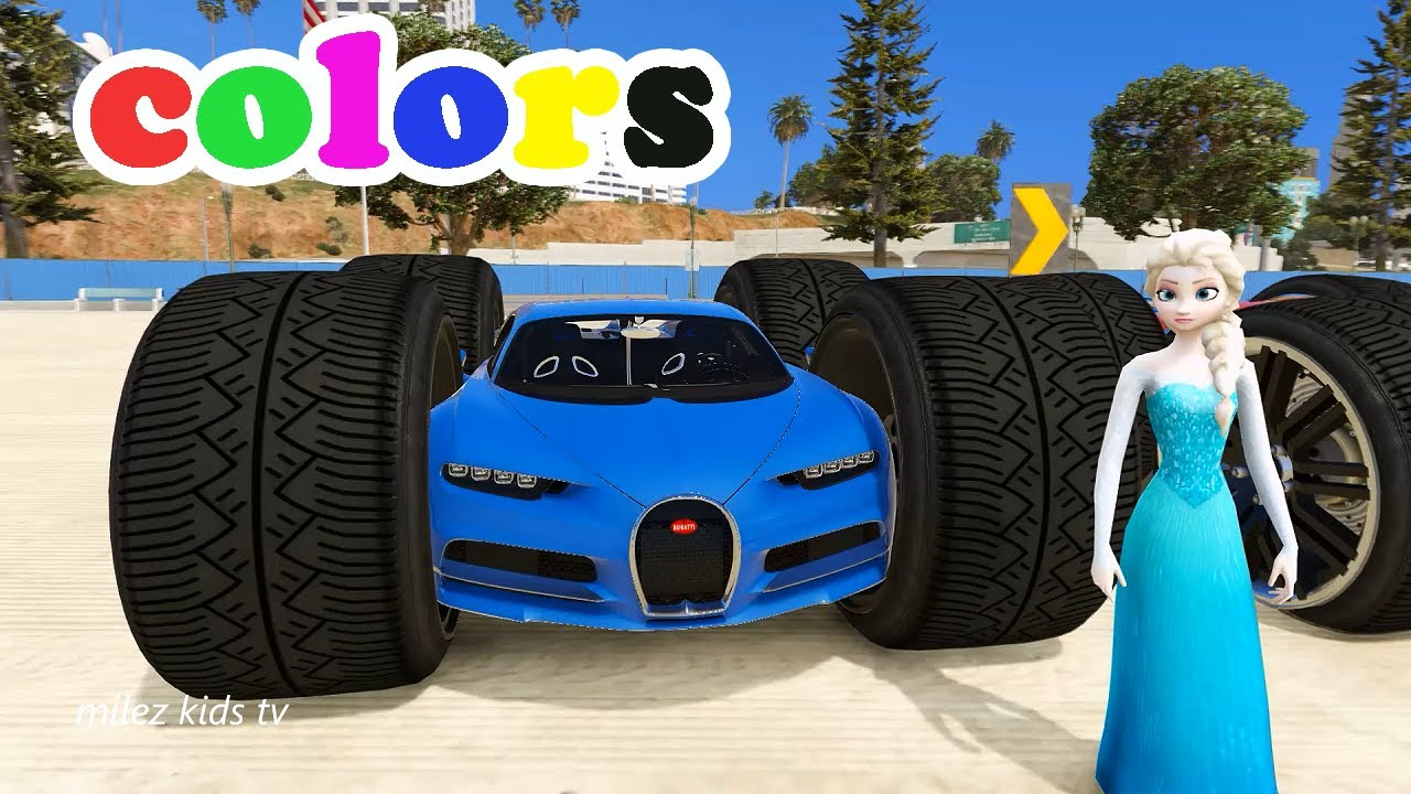 Funny Cars Colors Bugatti Sport Car In Big Tyre Cartoon For Kids