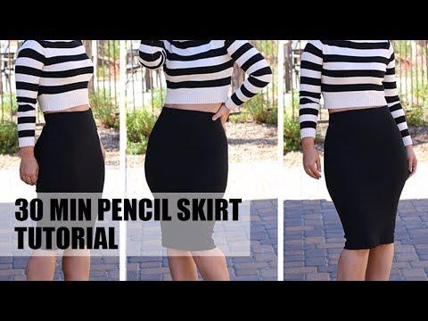 90d0584714 DIY 30 MIN PENCIL SKIRT TUTORIAL - YouTube