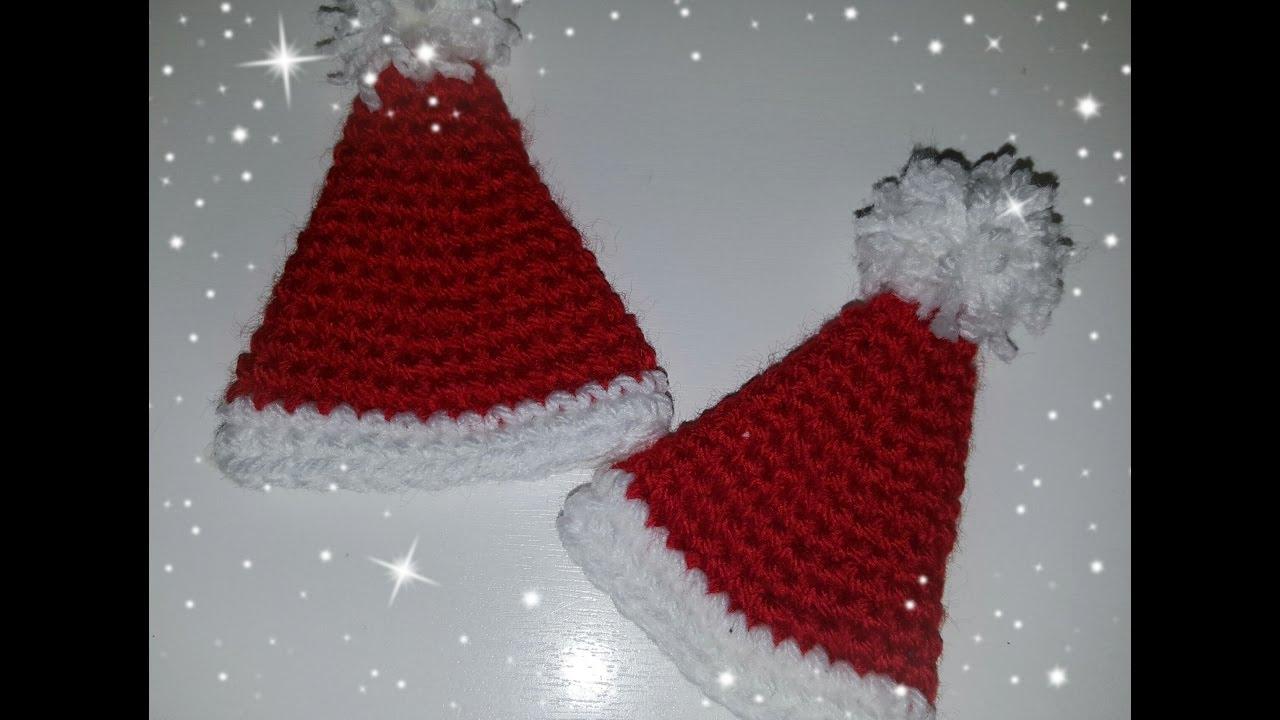 Segnaposto Natalizi Alluncinetto.Diy Natale Cappellino Di Natale All Uncinetto Diy Christmas Crochet Christmas Hat