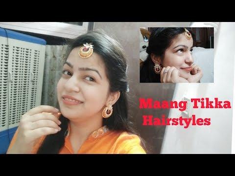 Maang Tika Hairstyle In Hindi || How To Set Tikka in Open Hair