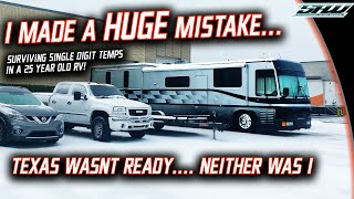 Surviving Texas Winter Storm 2021 in an RV: No Power..No Fuel..What Happened? (90s Newell Coach)