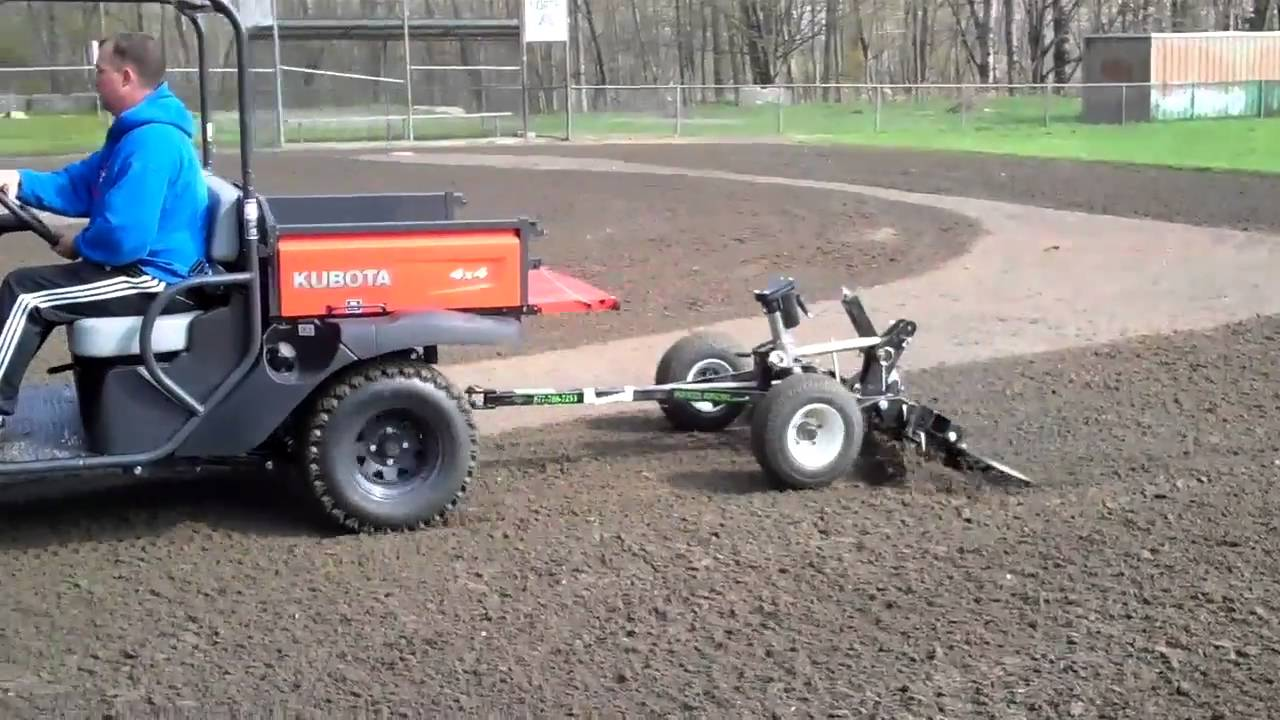 Baseball Tractor Drag : Kubota rtv with baseball infield renovator drag youtube