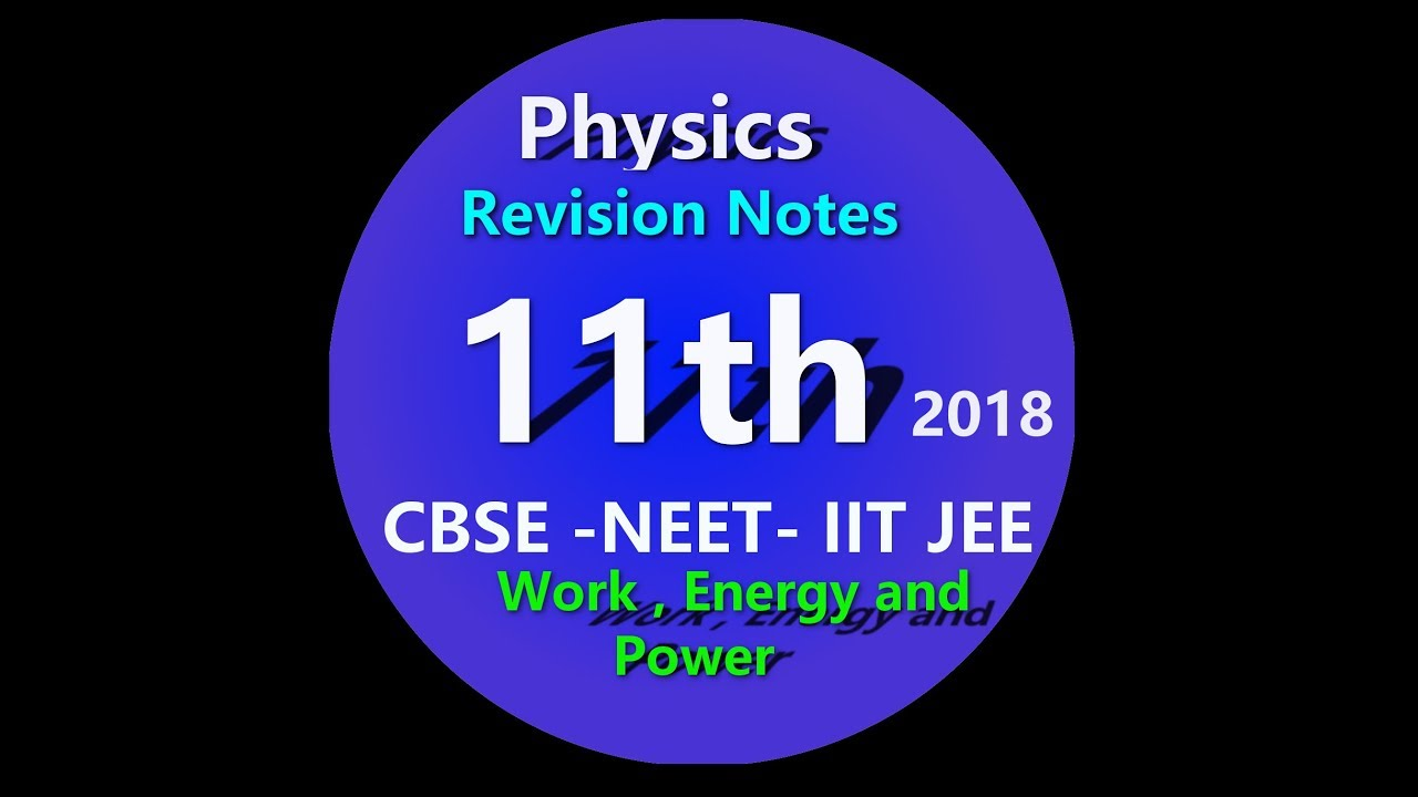 Class 11 Physics Chapter 6 Work, Energy and Power revision CBSE