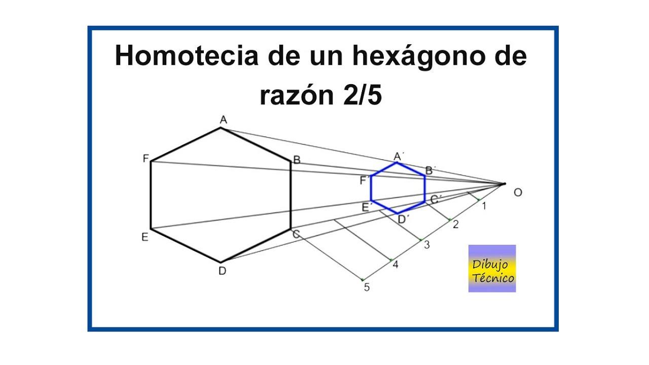 Homotecia de un hexágono de razón 2/5 - YouTube