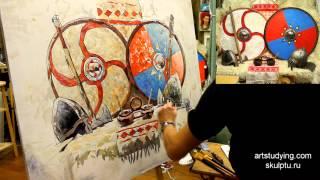 Декоративный натюрморт (продолжение) - Обучение живописи. Масло. Введение, 32 серия