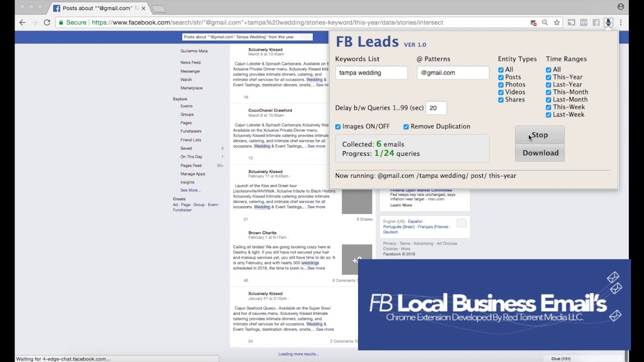 FB Local Business Emails Chrome Extension