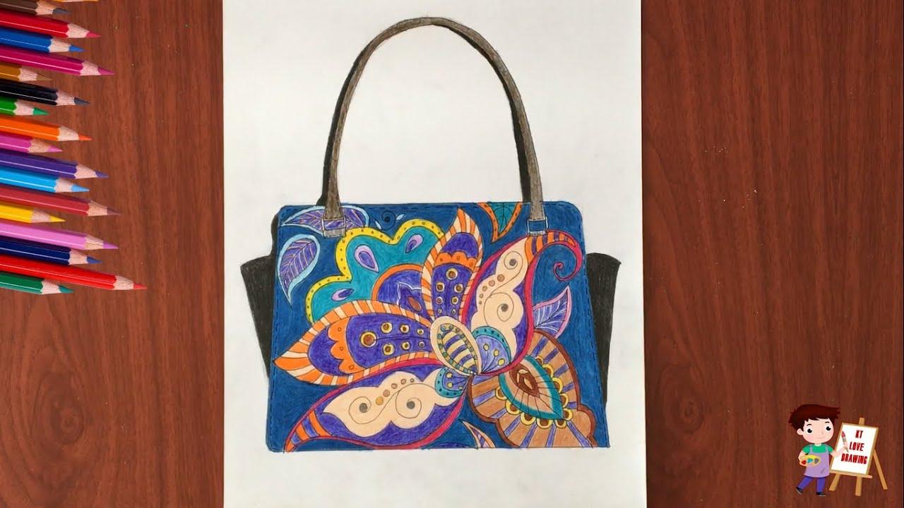 Vẽ tạo dáng và trang trí túi xách mỹ thuật 9 ( Tô màu )/ Design and decorate a fun bag