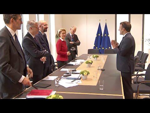 21.02.2020 - Ursula von der Leyen, Emmanuel Macron & Charles Michel - EU-Sonderrat (2. Tag)
