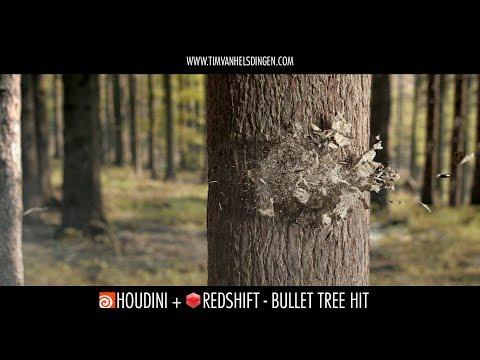 Houdini + Redshift: Bullet Tree Hit