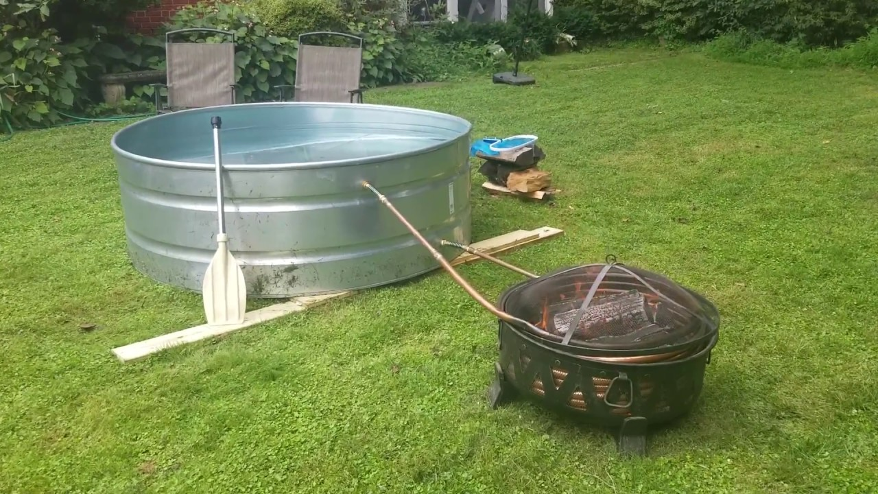 Off Grid Diy Wood Fired Stock Tank Hot Tub Youtube