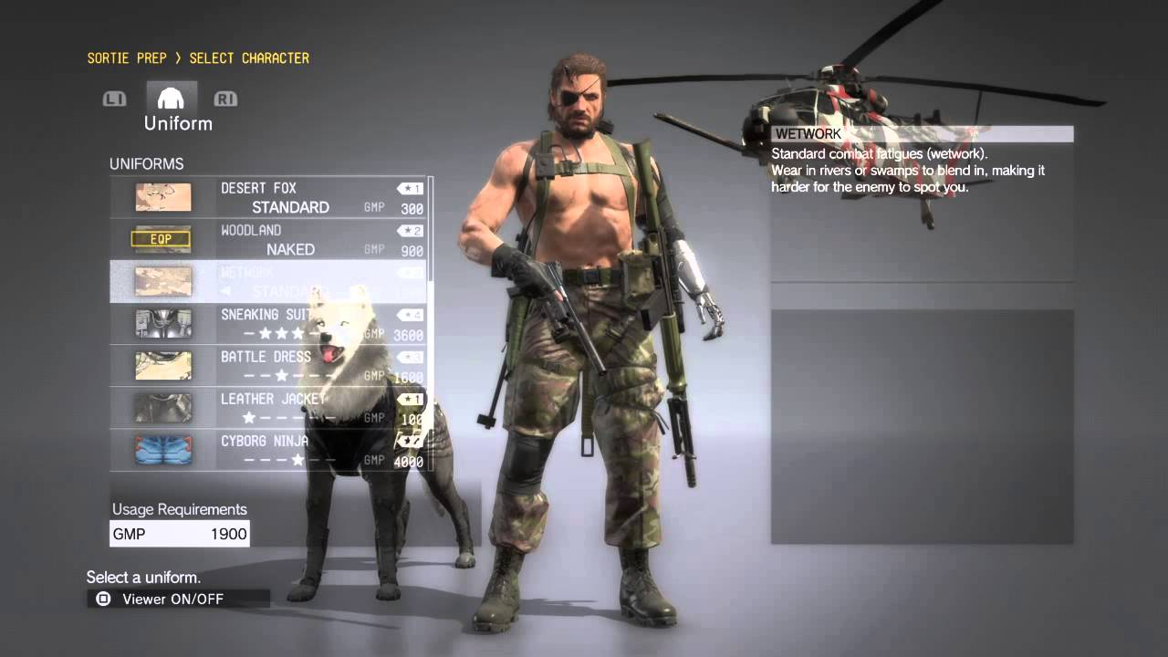 Metal Gear Solid 5 The Phantom Pain Snake Uniforms And Buddy Equipment