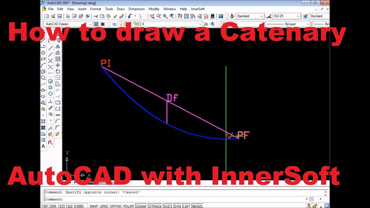 How to draw catenary by maximum deflection, sag at point  Tensions   InnerSoft CAD for AutoCAD