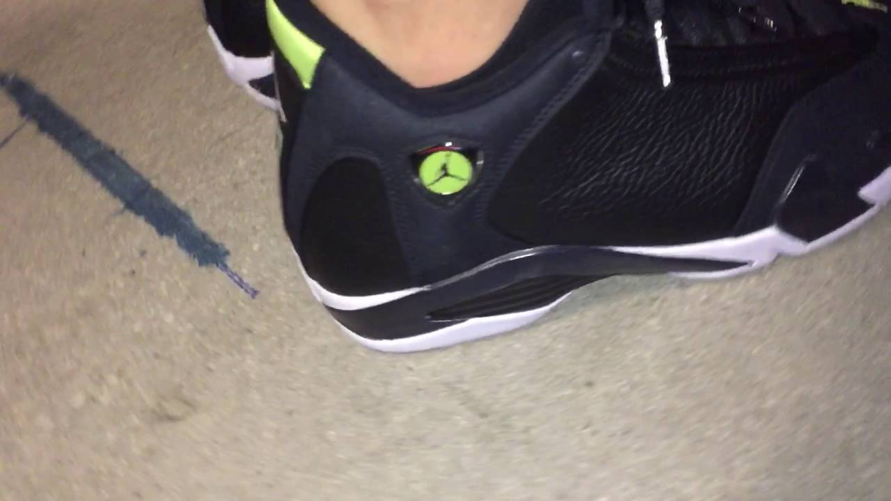 0a778a72c8d Air Jordan Retro 14 Indiglo (on feet) - YouTube