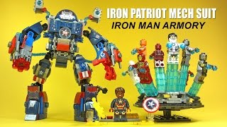 Iron Patriot Mech Suit & Iron Man Armors w/ Rotating Display Flight Stand Unofficial LEGO