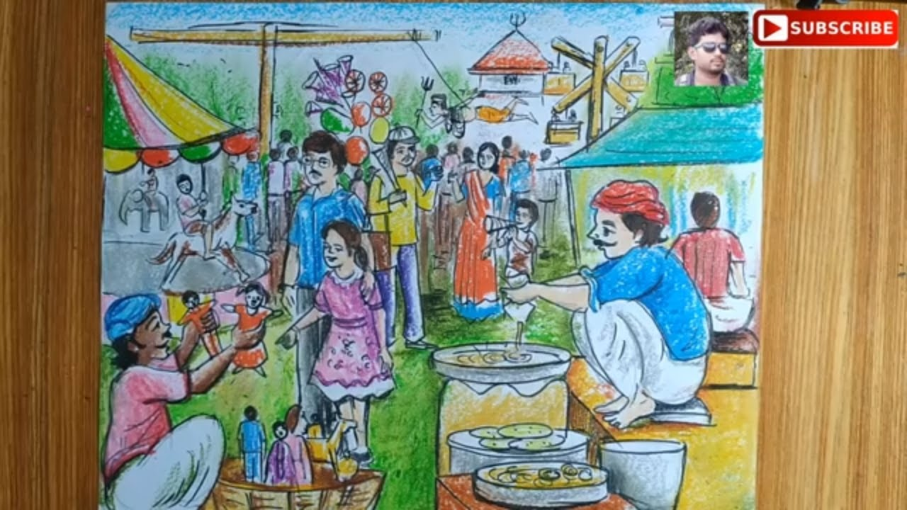 How To Draw Scenery Of Charak Puja Village Fair Scene How To Draw Mele Charak Puja Drawing