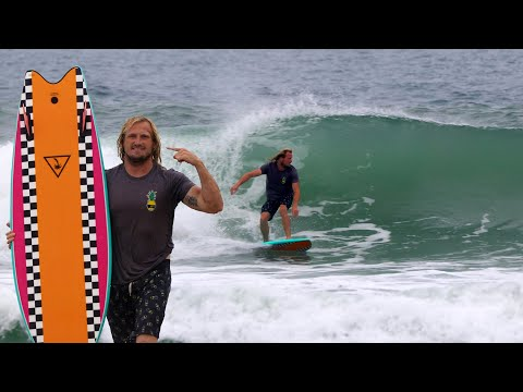 My First Time Surfing A Retro Twin Fin Soft Top!
