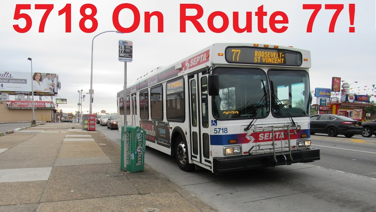 NeoplanDude SEPTA 2004 New Flyer D40LF #5718 On Route 77, To Roosevelt-St  Vincent!