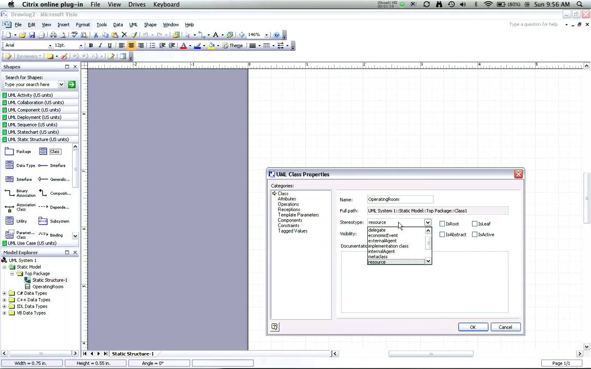 Creating UML Class Diagrams with Visio, part 2: adding classes - YouTube