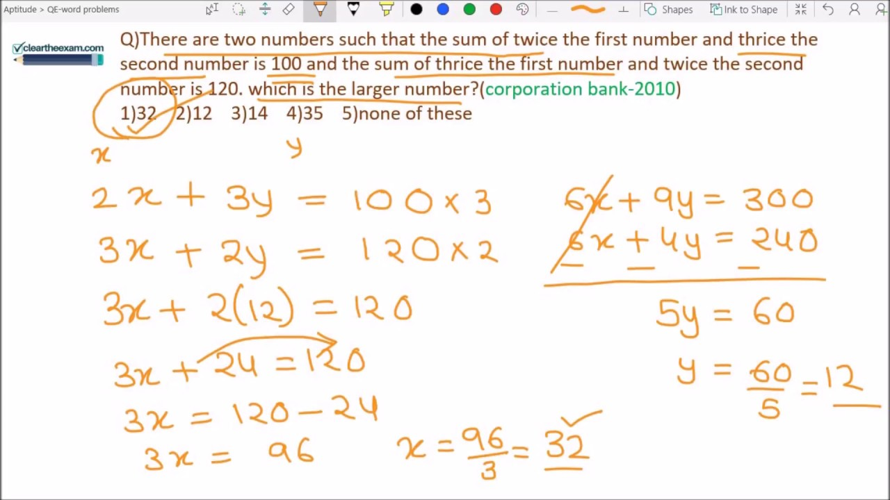 Word problems based on quadratic equation/linear equations - YouTube