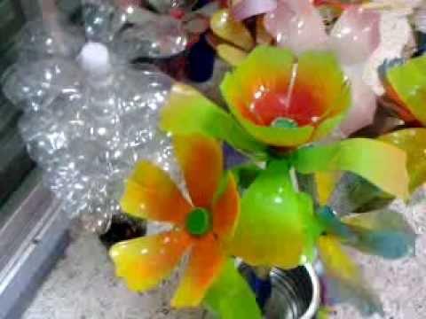 Flores de plastico reciclado 2 youtube for Plantas decorativas de plastico