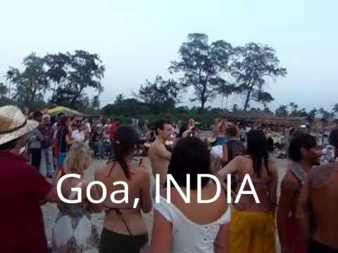 Goa beach drum circle at sunset—Arambol, India on the Arabian Sea