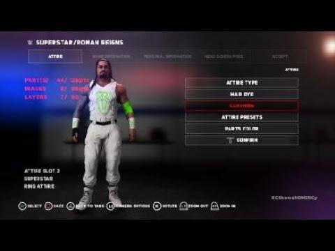 b64c00e8af WWE 2K18 Roman Reigns NEW 2018 White Green Vest Design  White Pants Attire