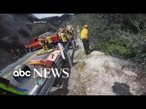Motorcyclist survives cliffside crash caught on camera