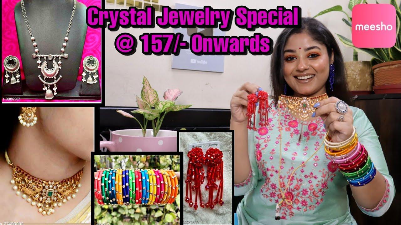 Meesho💚Meesho Haul💚Korean Jewellery Meesho Jewellery Starts@ 157/- to 627/-💚Crystal Jewelry💚Vaishali