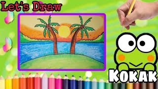 HOW TO DRAW SCENERY||DRAWING SUΝSET SCENERY WITH COCONUT TREES,USING OIL PASTEL||ALFIE CHANNELTV