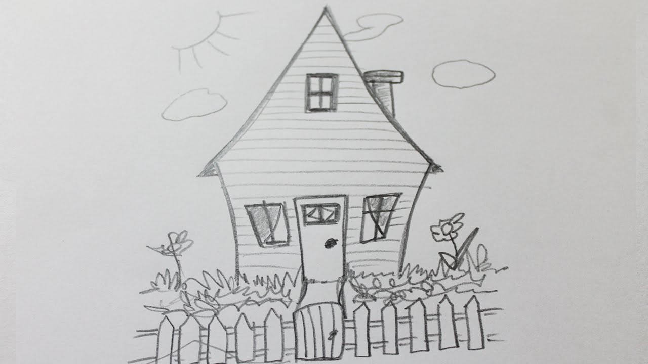 Comment dessiner une maison facile youtube for Une maison dessin