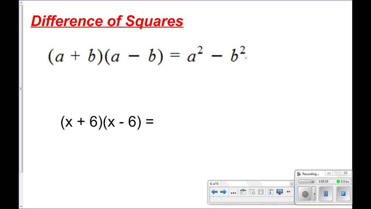 worksheet Multiplying Special Case Polynomials 8 4 multiplying special cases youtube cases