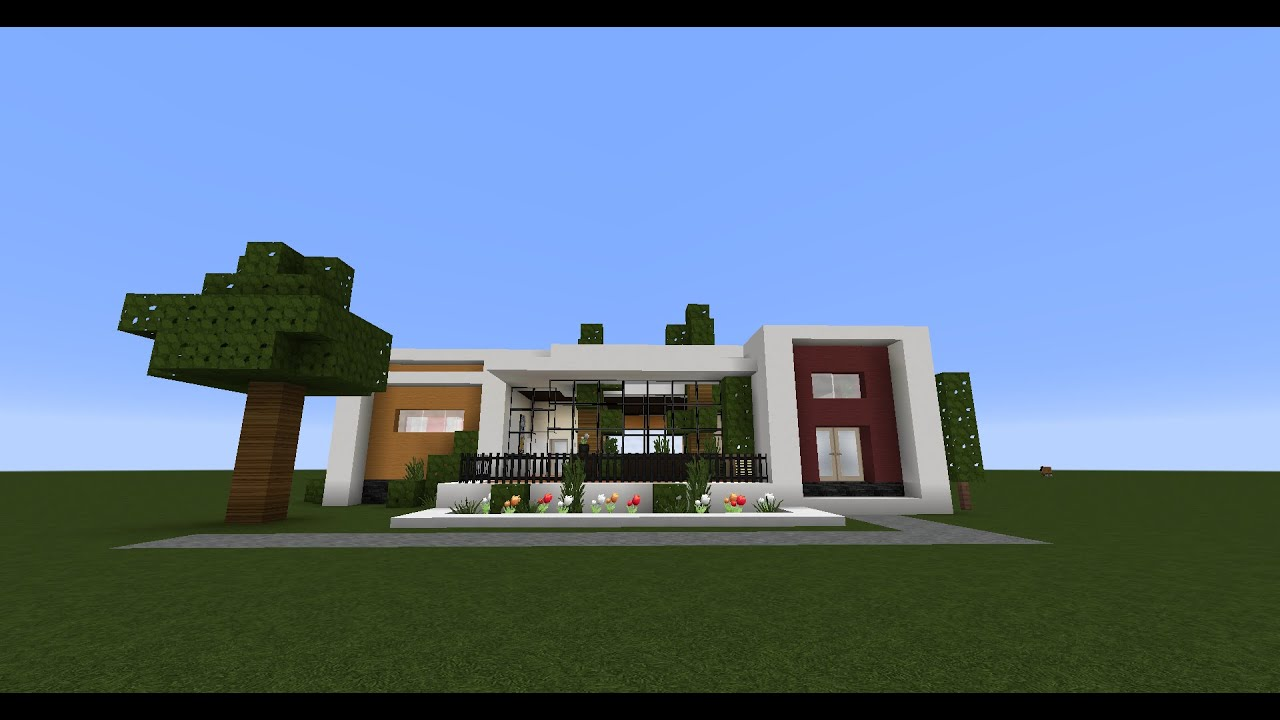 Minecraft - how to build small modern house with an atrium - Youube - ^