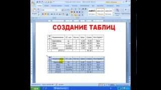 Пример создания таблицы в программе Microsoft Word