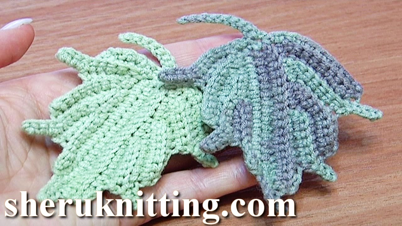 Crochet Leaf How to Tutorial 24 Part 2 of 2 Single Crochet Stitches ...