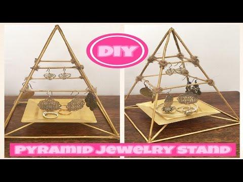 DIY Pyramid Jewelry Stand Dollar Store