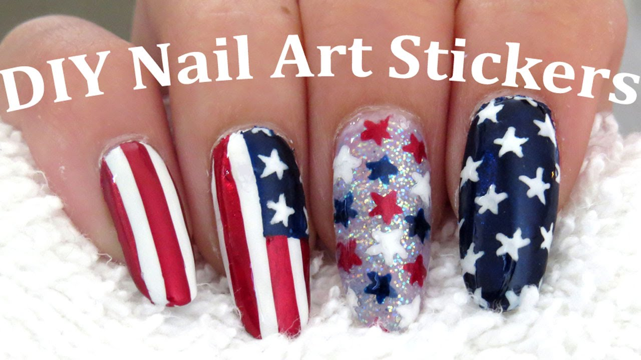 Easy American Flag 4th Of July Nail Art Youtube