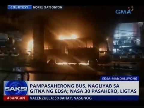 Saksi: Pampasaherong bus, nagliyab sa gitna ng EDSA