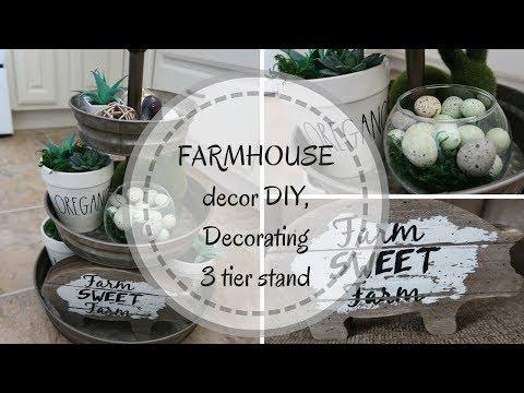 FARMHOUSE DECOR DIY | DOLLAR TREE DIY | THREE TIER TRAY | SIMPLE SUCCULENT DIYS | DECORATE WITH ME