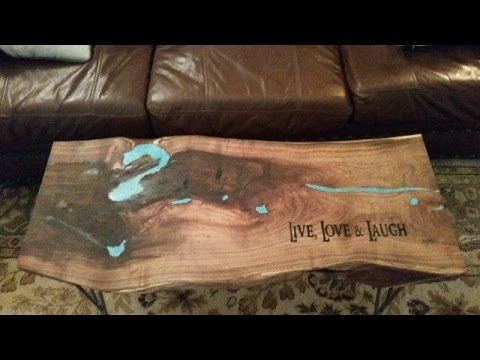 Custom Mesquite Wood Table With Turquoise Inlay And Carved