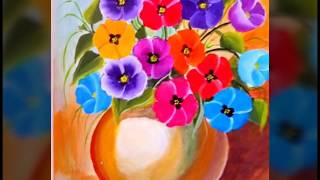 One stroke acrylic painting ll My paintings ll Collection of beautiful floral composition