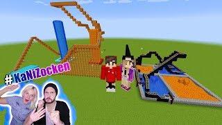 NINAS ACHTERBAHN vs KAANS HOLZ ACHTERBAHN! Mini Freizeitpark bauen im Minecraft Build Battle