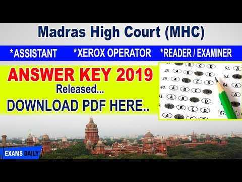 Madras High Court answer key 2019 Download Assistant Reader Examiner Xerox Operator